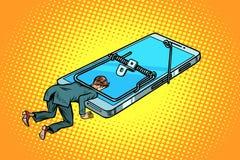 Hombre atrapado en un smartphone de la ratonera stock de ilustración