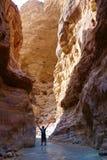 Hombre aventurero joven en el ` de Wadi Zarqa Ma en el barranco situado en el paisaje montañoso al este del mar muerto, cerca al  Imágenes de archivo libres de regalías