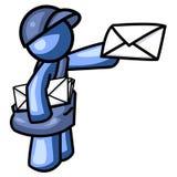 Hombre azul que entrega insignia del correo stock de ilustración