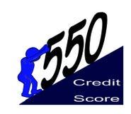 Hombre azul que lucha y que empuja hacia arriba su cuenta de crédito