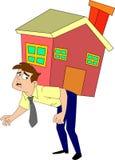 Hombre bajo carga de la hipoteca stock de ilustración