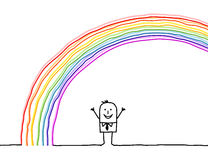 Hombre bajo el arco iris Imagen de archivo