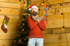 Hombre barbudo de la Navidad en guantes Imagen de archivo libre de regalías