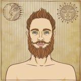 Hombre barbudo del retrato de la animación Imagen de archivo