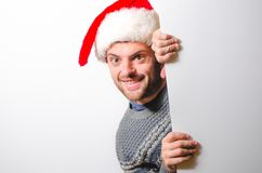 Hombre barbudo hermoso, Año Nuevo, fondo de la Navidad Imagenes de archivo