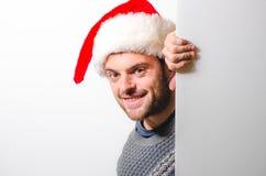 Hombre barbudo hermoso, Año Nuevo, fondo de la Navidad Fotos de archivo