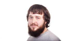 Hombre barbudo que mira con confianza adelante Estudio tirado en el fondo blanco Imágenes de archivo libres de regalías