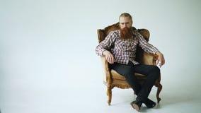 Hombre barbudo que sienta la butaca de lujo y que mira en cámara en el fondo blanco Imagen de archivo libre de regalías