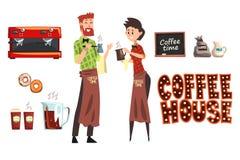Hombre barbudo sonriente con barista del cezve y de la mujer con la taza Trabajadores de la cafetería que llevan las camisas y lo ilustración del vector