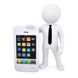 hombre blanco 3d al lado del smartphone Fotografía de archivo libre de regalías