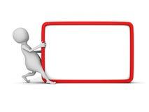 Hombre blanco 3d con el tablero en blanco de la información ilustración del vector
