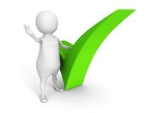 Hombre blanco 3d con la marca de verificación verde en el fondo blanco Fotografía de archivo libre de regalías