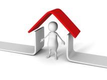 Hombre blanco 3D debajo de la casa roja del tejado Concepto 6 de las propiedades inmobiliarias Fotos de archivo libres de regalías
