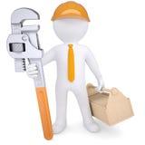 hombre 3d en casco con la llave de tubo y la caja de herramientas Imágenes de archivo libres de regalías
