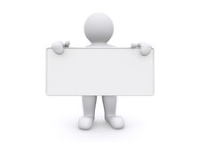 hombre blanco 3d que lleva a cabo al tablero vacío en el fondo blanco Imagenes de archivo
