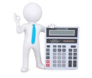 hombre blanco 3d que sostiene una calculadora Imagenes de archivo