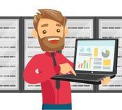 Hombre blanco en centro de datos con un ordenador portátil stock de ilustración