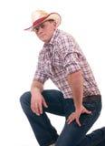 Hombre bonito con el sombrero de vaquero Imágenes de archivo libres de regalías