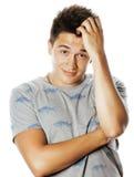 Hombre bonito joven que parece confundido cerca para arriba Fotos de archivo