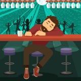 Hombre borracho dormido en la barra libre illustration