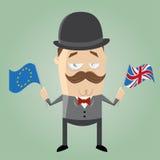 Hombre británico con la bandera y el Union Jack europeos stock de ilustración