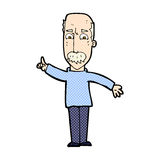 hombre cómico de la historieta que publica la advertencia severa Imágenes de archivo libres de regalías
