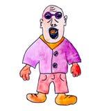 Hombre calvo del monstruo con la historieta del g?ngster de los vidrios Foto de archivo libre de regalías