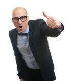 Hombre calvo divertido que muestra su pulgar para arriba Fotografía de archivo