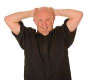 Hombre calvo tensionado Imagen de archivo libre de regalías
