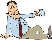 Hombre cansado que sostiene hacia fuera una taza. libre illustration