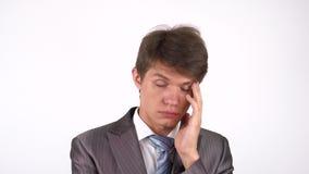 Hombre cansado y soñoliento Gesto almacen de metraje de vídeo