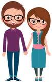 Hombre cariñoso y mujer de los pares vestidos como inconformistas Imagenes de archivo