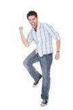 Hombre casual que grita para la alegría Fotografía de archivo