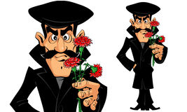 Hombre caucásico con las flores una fecha Fotografía de archivo libre de regalías