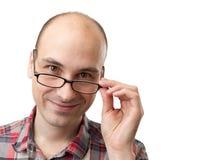 Hombre caucásico con los vidrios Fotografía de archivo libre de regalías