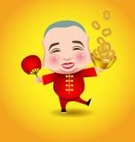 Hombre chino del Año Nuevo con la máscara de la sonrisa en fondo amarillo