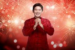 Hombre chino en traje del cheongsam Imagenes de archivo