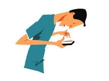Hombre chocado con el teléfono elegante imágenes de archivo libres de regalías