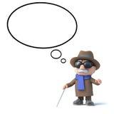 hombre ciego 3d con sin embargo una burbuja Foto de archivo libre de regalías