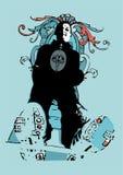 Hombre cobarde en una escala libre illustration