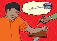Hombre cobarde y aguja hipodérmica libre illustration