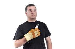 Hombre con alicates en sus manos Imágenes de archivo libres de regalías