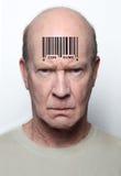 Hombre con código de barras Imagen de archivo libre de regalías