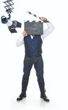 Hombre con clapperboard Fotografía de archivo