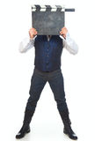 Hombre con clapperboard Fotografía de archivo libre de regalías