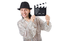 Hombre con clapperboard de la película Fotos de archivo libres de regalías