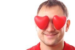 Hombre con corazón-dimensiones de una variable rojas Foto de archivo libre de regalías