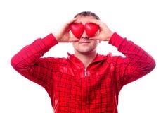 Hombre con corazón-dimensiones de una variable rojas Imagen de archivo