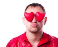 Hombre con corazón-dimensiones de una variable rojas Fotografía de archivo libre de regalías