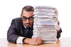Hombre con demasiado trabajo Imagenes de archivo